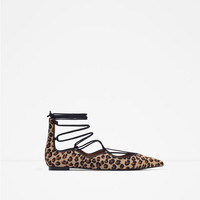 PRINTED LEATHER LACE-UP BALLERINAS