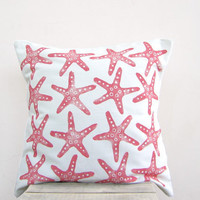 Throw pillow: starfish print in coral pink / red  - beach decor pillow cushion cover, beach cottage decor