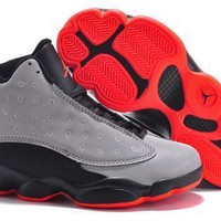 New Nike Air Jordan 13 Retro Kids Shoes Gray Black Red