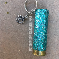 Mint Glittered Shotgun Shell With Sunflower Charm Keychain