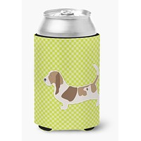Basset Hound Checkerboard Green Can or Bottle Hugger BB3802CC