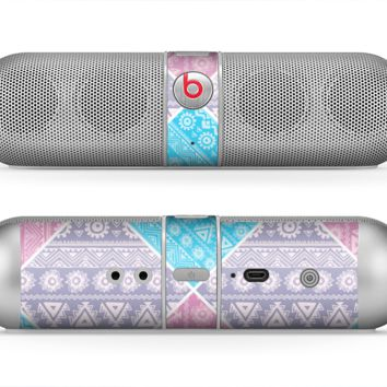The Squared Pink & Blue Textile Patterns Skin for the Beats by Dre Pill Bluetooth Speaker