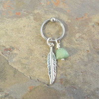 Green Adventurine Cartilage Hoop Silver Feather CBR Earring Belly Button Jewelry