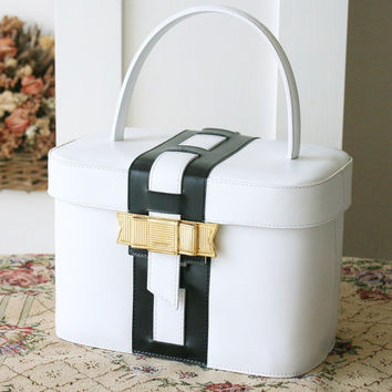 Celine bag Beauty Case Cosmetic Bag White and Black Ribbon Vintage Case Tote purse Very Rare