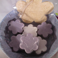 Women's Only Bath Soaps Set,  relax with 6 soaps for women,  flower loofah, great for Bridal Shower, Anniversary, All occasions