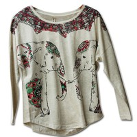 The Elephant Impression Long Sleeve Loose T-Shirt Gray