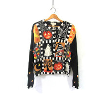 vintage ugly Halloween sweater  // tacky sweater cardigan // holiday party sweater in black / size M