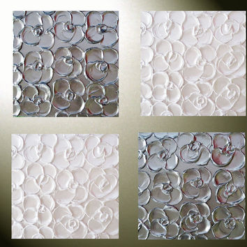 Custom Art Abstract Paintings Metallic Sculpted Wall Decor Set of 4  Home Decor Gift Textured Silver Pearl White Flowers MADE TO ORDER