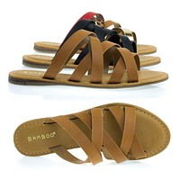 Happiness02 by Bamboo, Flat Slip On Gladiator Strappy Sandals, Women Casual Slipper Shoes
