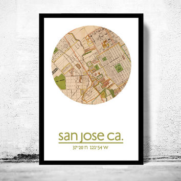SAN JOSE CA - city poster - city map poster print