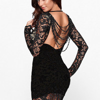 Full Sleeved Black Lace Bodycon Dress with Backless Beaded Fringe Details
