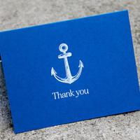 Nautical Wedding Thank You Cards, Thank you card set, Thank you notes, Anchor cards, Nautical stationary, Blue and White anchor wedding