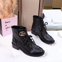 Gucci Trending Women's Black Leather Side Zip Lace-up Ankle Boots Shoes High Boots