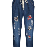 Blue Drawstring Elastic Waist Patch Embroidered Ripped Jeans