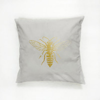 Gold Bee Pillow, Bee Pillow, Home Decor, Cushion Cover, Throw Pillow, Bedroom Decor, Insect Pillow, Modern Pillow, Bed Pillow, Gold Pillow.