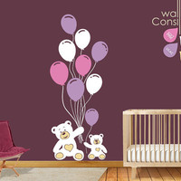 """Teddy with Balloons Wall Decal - Wall Sticker - Large: Whole Scene is 78"""" high and 31"""" wide. - K009"""