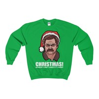 Ugly Christmas Sweater - Ron Swanson Christmas! Because I Don't Care If It's Merry Sweatshirt
