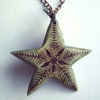 Star Necklace, Wooden Pendant Hand Carved. Star Pendant, Star Jewelry, Star Necklace, Nature, pyrography jewelry, blue green,Tribal, Surfer