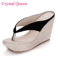Sweet beach flip flops platform wedges sandals slippers high-heeled sandals wedges female sandals flip flops women shoes sandals