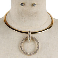 """16"""" gold crystal pave 2"""" ring pendant choker collar necklace .25"""" earrings"""