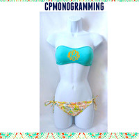 Bandeau Bathing Suit Monogrammed (Ties in the Back)