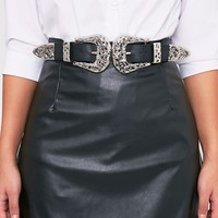 Hermione Silver Ornate Double Buckle Waist Belt