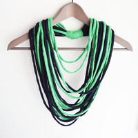 Blue green necklace neck ornament loop scarf infinity scarf round scarf hoop grass indigo