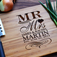 "Personalized Cutting Board ""Mr. and Mrs."" Engraved Bamboo Wood for Wedding, Anniversary Gift"