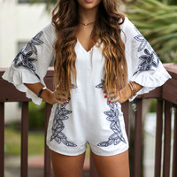 Skyline Ivory Bell Sleeve Embroidered Romper