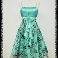 dress190 TURQUOISE BLUE 50s FLOCK TATTOO ROCKABILLY PROM PARTY COCKTAIL DRESS