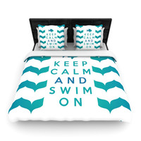 "Nick Atkinson ""Keep Calm and Swim On"" Teal White Woven Duvet Cover"