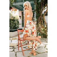 You're Beautiful High-Low Maxi Dress (White Floral)