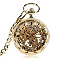 Gold Rush Skeleton Mechanical Pocket Watch