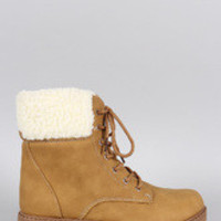 Women's Shearling Cuff Round Toe Lace Up Hiking Bootie