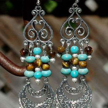 Turquoise and Tiger Eye Chandelier Earrings ~ One of a Kind ~ Boho Jewellery ~ Bohemian Style ~ Statement Earrings ~ Semi Precious Stones