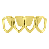 4 Teeth Grillz Caps Mouth Grill 14k Yellow Gold Finish