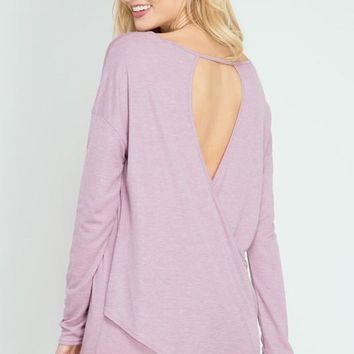long sleeve top with overlapping open back