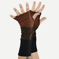 Arm Warmers in Autumn Leaves - Cocoa Chocolate Brown and Black Segmented Sleeves - Fingerless Gloves