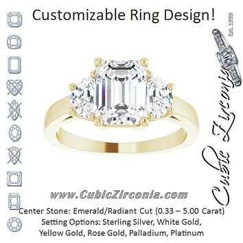Cubic Zirconia Engagement Ring- The Bree (Customizable 3-stone Design with Radiant Cut Center and Half-moon Side Stones)