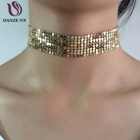 Danze 2017 New Fashion Handmade Gold Plated Mesh Copper Choker Necklaces For Women Elegant Metal Chockers Colar Collier Femme
