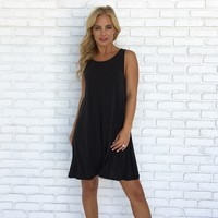 Scoop Back Jersey Dress In Charcoal Grey