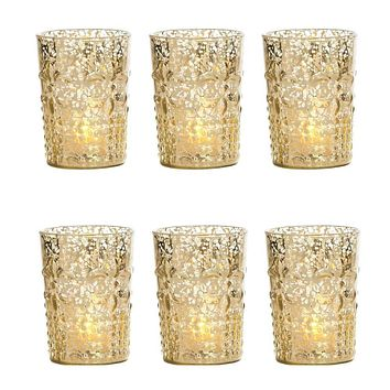 6 Pack | Vintage Mercury Glass Candle Holders (4-Inch, Fleur Design, Flower Motif, Gold) - For Home Decor, Party Decorations, and Wedding Centerpieces