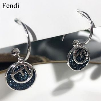Fendi New fashion letter diamond long earring women
