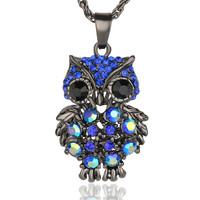 Crystal Gem Owl Necklace