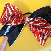 """3"""", 3 inch ribbon cheer cheerleader bow- Navy sequins and red/silver zebra sequins"""