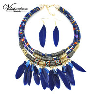 New Color Feather Tassel Pendant Necklaces Women Jewelry Unique Collar Statement Necklace Set With Earrings Bohemia Accessories