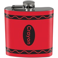 Crayon Red Full Wrap Steel Flask