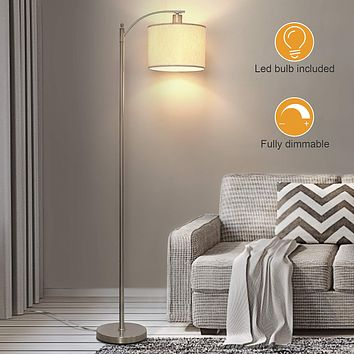 LED Floor Lamp with Dimmer, Fully Dimmable Standing Lamp Modern Tall Pole Lamp with Hanging Fabric Shade and Silver Base Montage Reading Light for Living Room Bedroom, Bright 8W LED Bulb Included