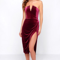 Drawn That Way Burgundy Velvet Strapless Dress
