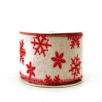 Ivory Faux Burlap Red Snowflakes, 2-1/2-inch, 10-yard